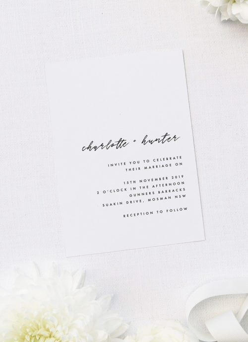 Clean Simple Minimal Cursive Script Wedding Invitations