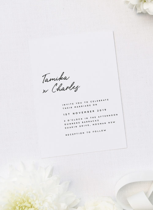 Elegant Brush Script Writing Modern Minimal Wedding Invitations