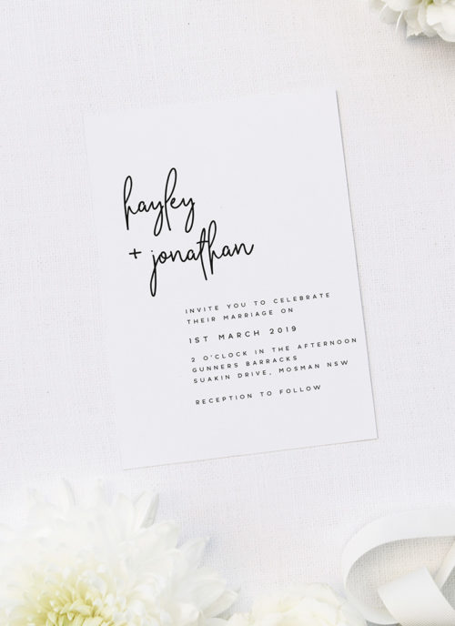 Elegant Cursive Modern Minimal Wedding Invitations