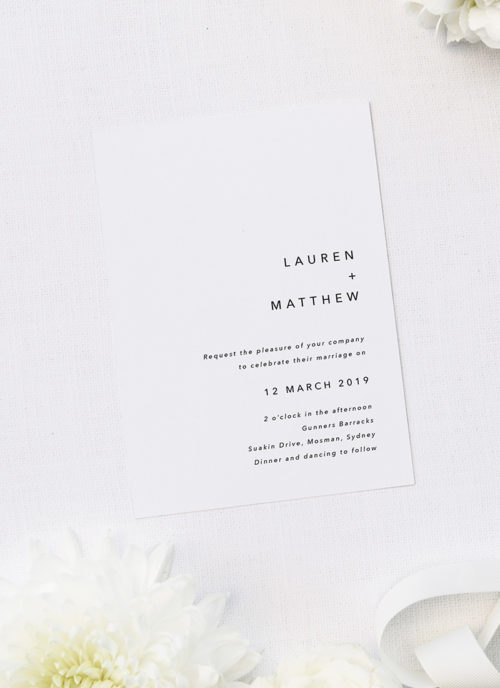 Clean Simple Modern Minimal Wedding Invitations
