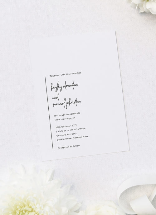 Simple Modern Hand Writing Line Wedding Invitations