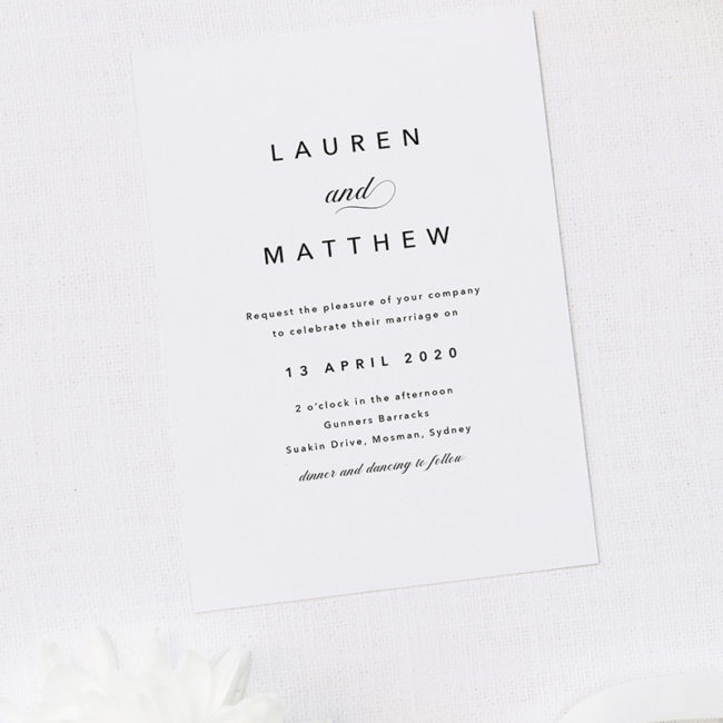 Sophisticated Elegant Names Wedding Invitations