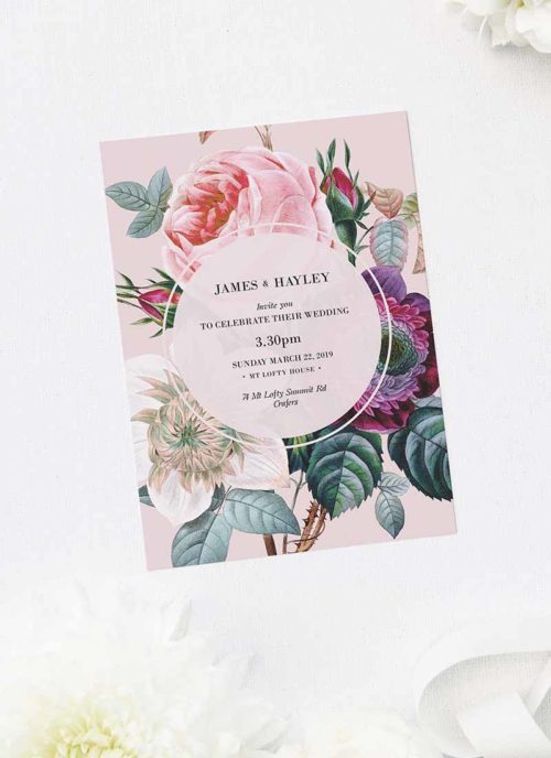 Blush Pink Rose Floral Bouquet Wedding Invitations