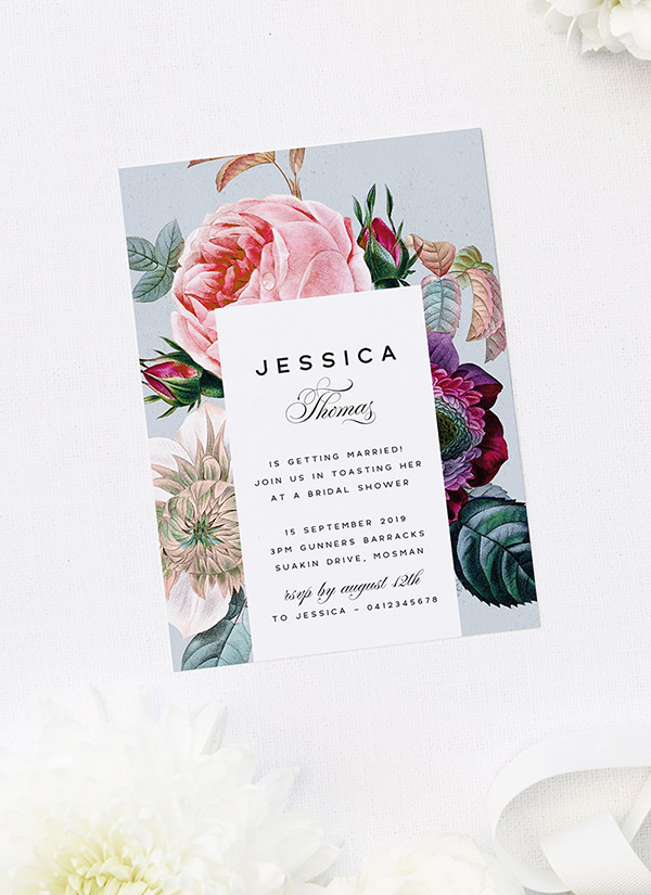 Elegant Classy Rose Floral Bouquet Bridal Shower Invitations