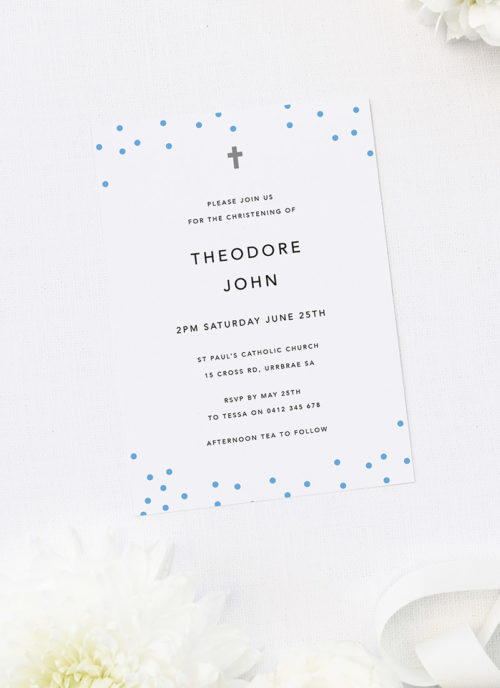 Blue Polkadots Christening Invitations