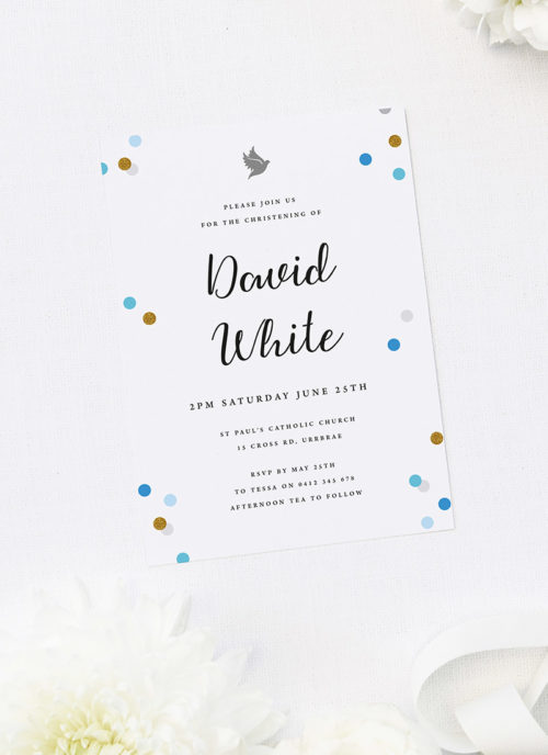 Blue Confetti Christening Invitations