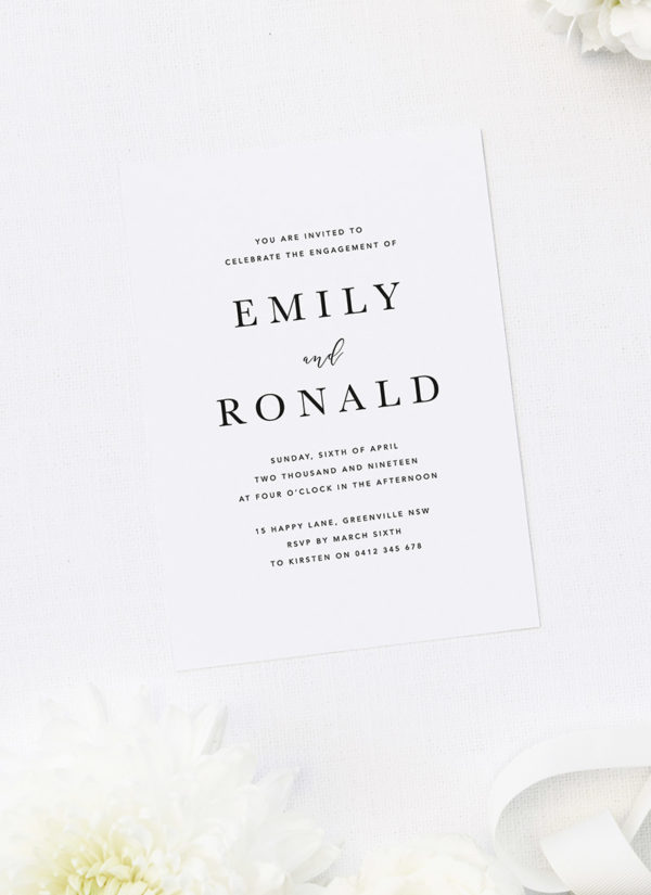 Bold Centre Names Classic Simple Engagement Invitations by Sail and Swan