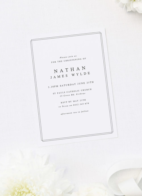 Beautiful Elegant Border Christening Invitations