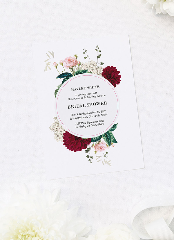 Burgundy Dahlia Purple Red Floral Bridal Shower Invitations