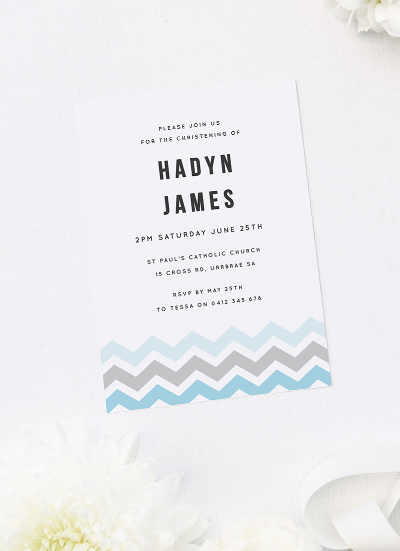 Blue Chevron Christening Invitations