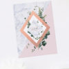 Modern Geometric Marble Rose Gold Engagement Invitations
