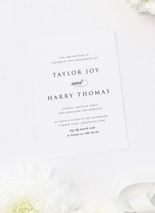 Classic Large Names Centre Elegant Script Engagement Invitations
