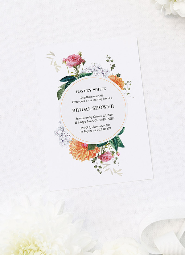 Vintage Floral Bridal Shower Invitations