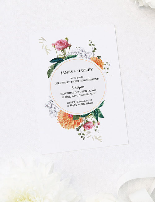 Floral Botanical Rose Dahlia Engagement Invitations