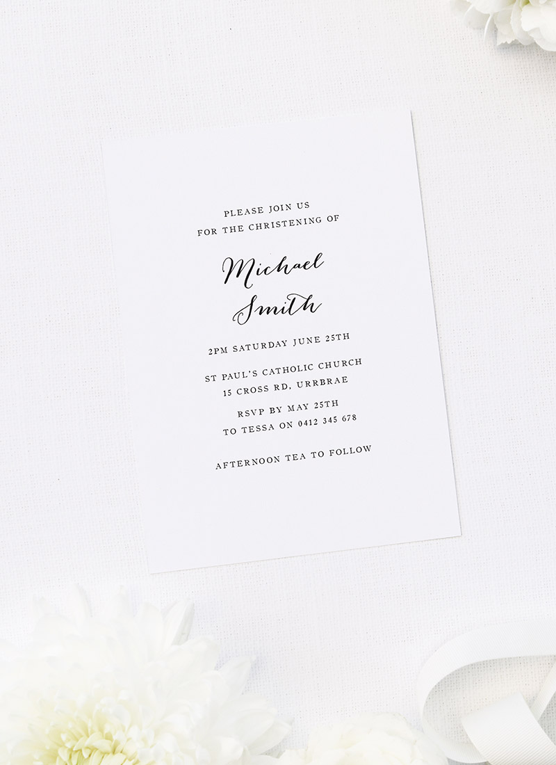 Simple Cursive Christening Invitations