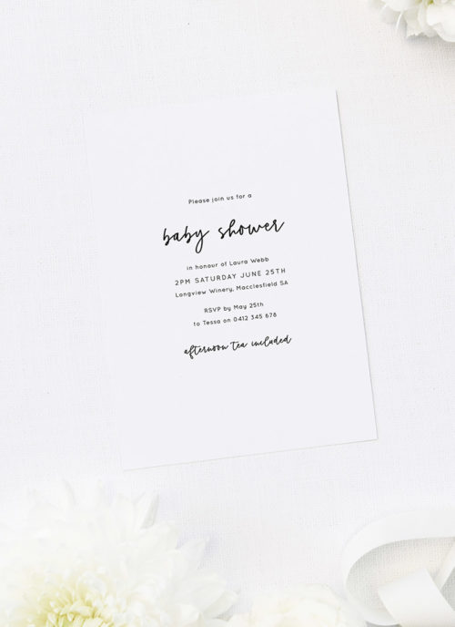 Simple Elegant Cursive Baby Shower Invitations