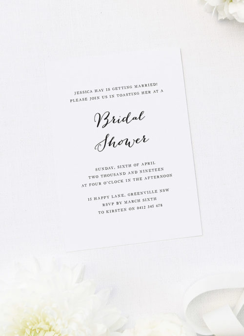 Simple Pretty Cursive Bridal Shower Invitations