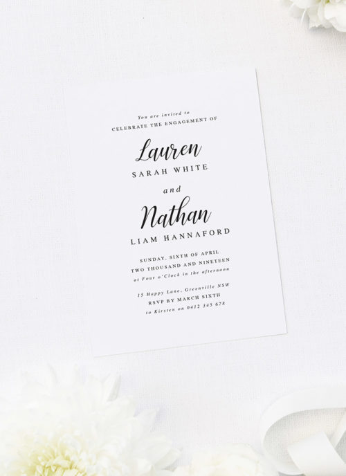 Simple Cursive Writing Engagement Invitations