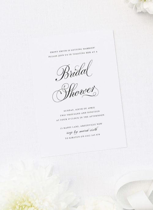 Elegant Calligraphy Script Bridal Shower Invitations