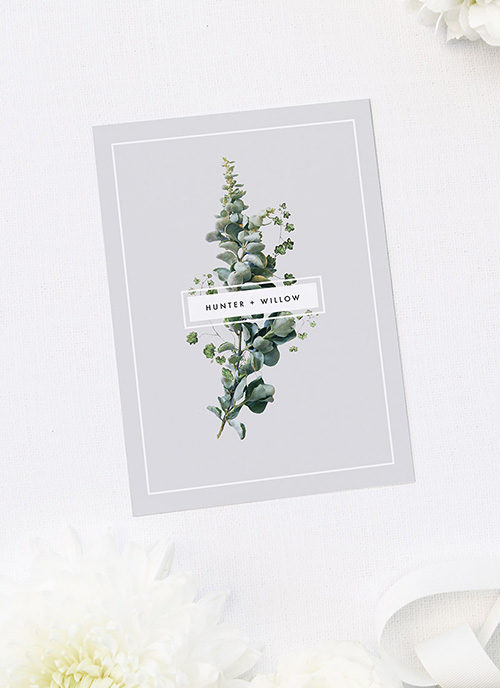 Elegant Botanical Grey White Green Engagement Invitations