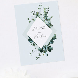 Pale Dusty Blue Romantic Botanical Engagement Invitations