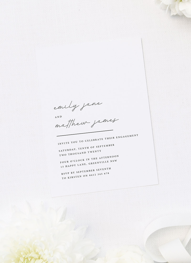 Elegant Hand Writing Script Engagement Invitations