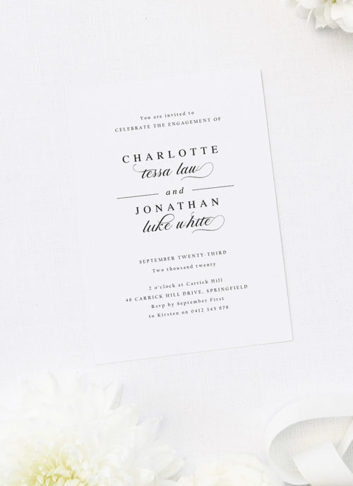 Classic Timeless Elegant Classy Stunning Writing Engagement Invitations
