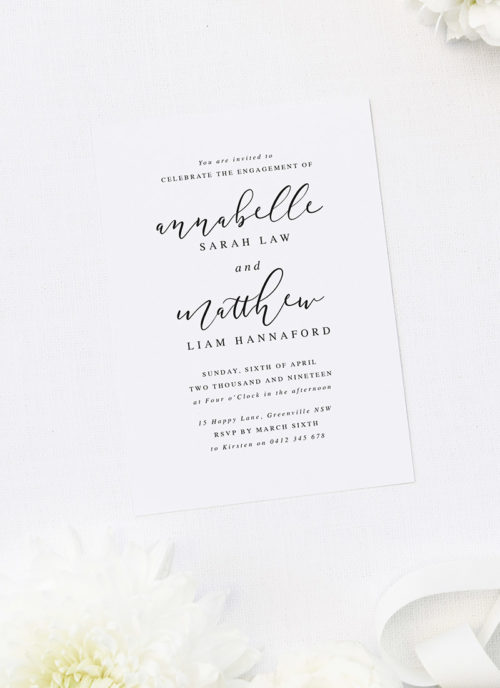 Elegant Cursive Script Writing Engagement Invitations