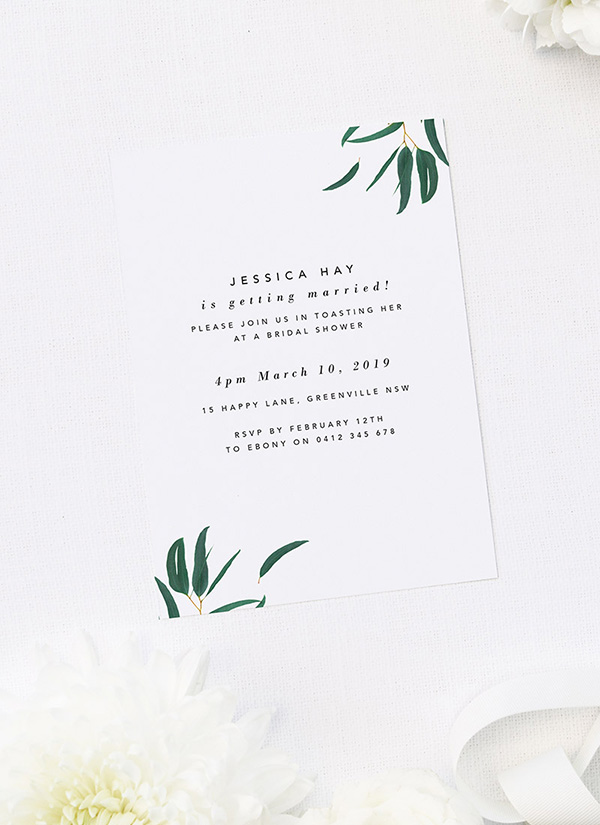 Eucalyptus Leaves Botanical Kitchen Tea Invitations
