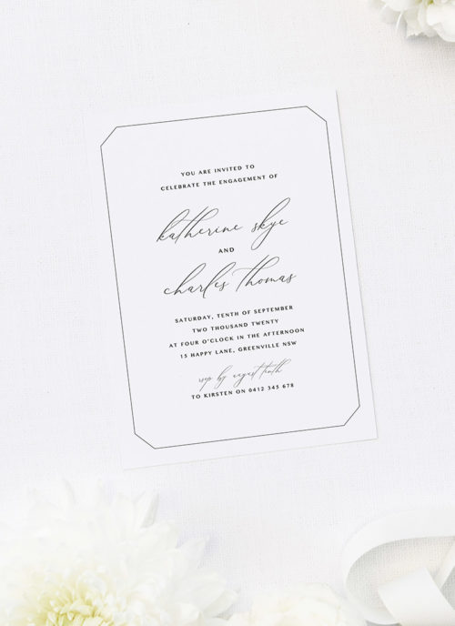 Decorative Border Elegant Calligraphy Classic Engagement Invitations