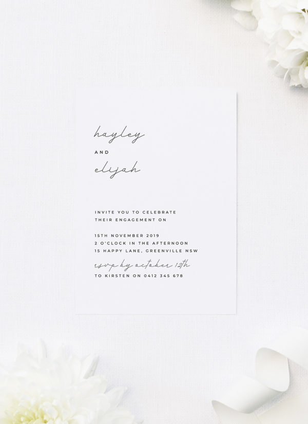 Simple Flowy Modern Cursive Font Engagement Invitations by Sail and Swan