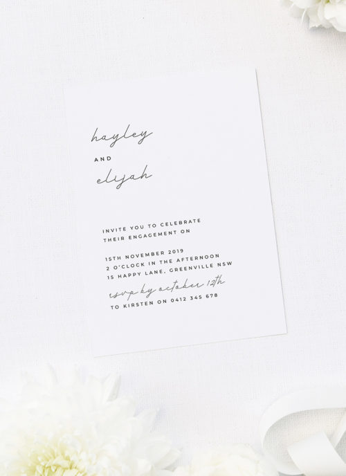 Simple Flowy Modern Cursive Font Engagement Invitations