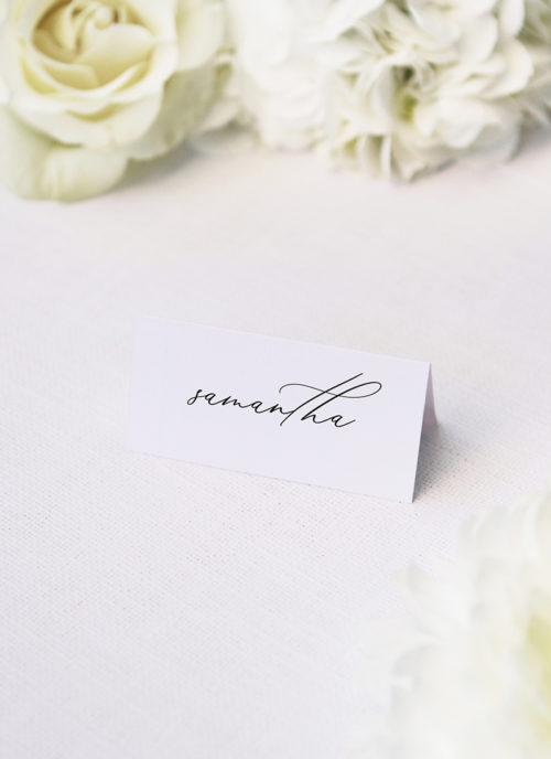 Modern Minimal Calligraphy Name Place Cards Modern Minimal Calligraphy Wedding Invitations