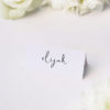 Loose Free Hand Writing Modern Minimal Name Place Cards Loose Free Hand Writing Modern Minimal Wedding Invitations
