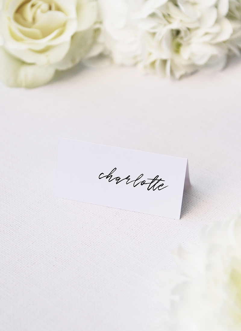 Clean Simple Minimal Cursive Script Name Place Cards Clean Simple Minimal Cursive Script Wedding Invitations