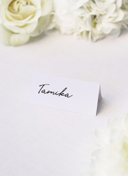 Elegant Brush Script Writing Modern Minimal Name Place Cards Elegant Brush Script Writing Modern Minimal Wedding Invitations