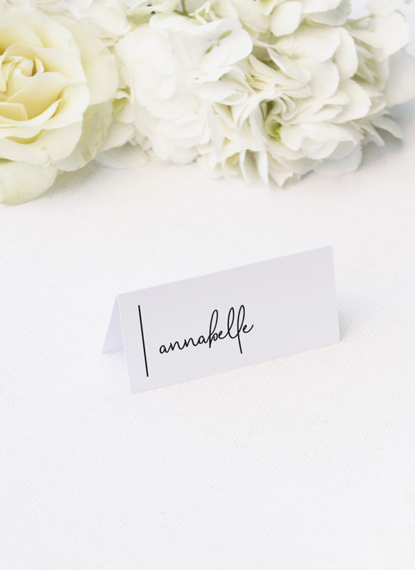 simple modern hand writing line name place cards