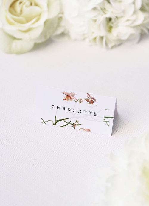 Orchid Flower Name Place Cards Orchid Flower Wedding Invitations - Peach Pink Orchid Flowers