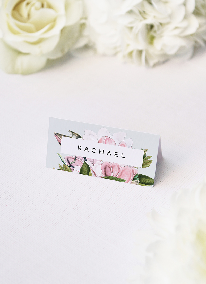 Elegant Magnolia Flower Name Place Cards Elegant Magnolia Flower Wedding Invitations - Pale Pink Blue Green Florals