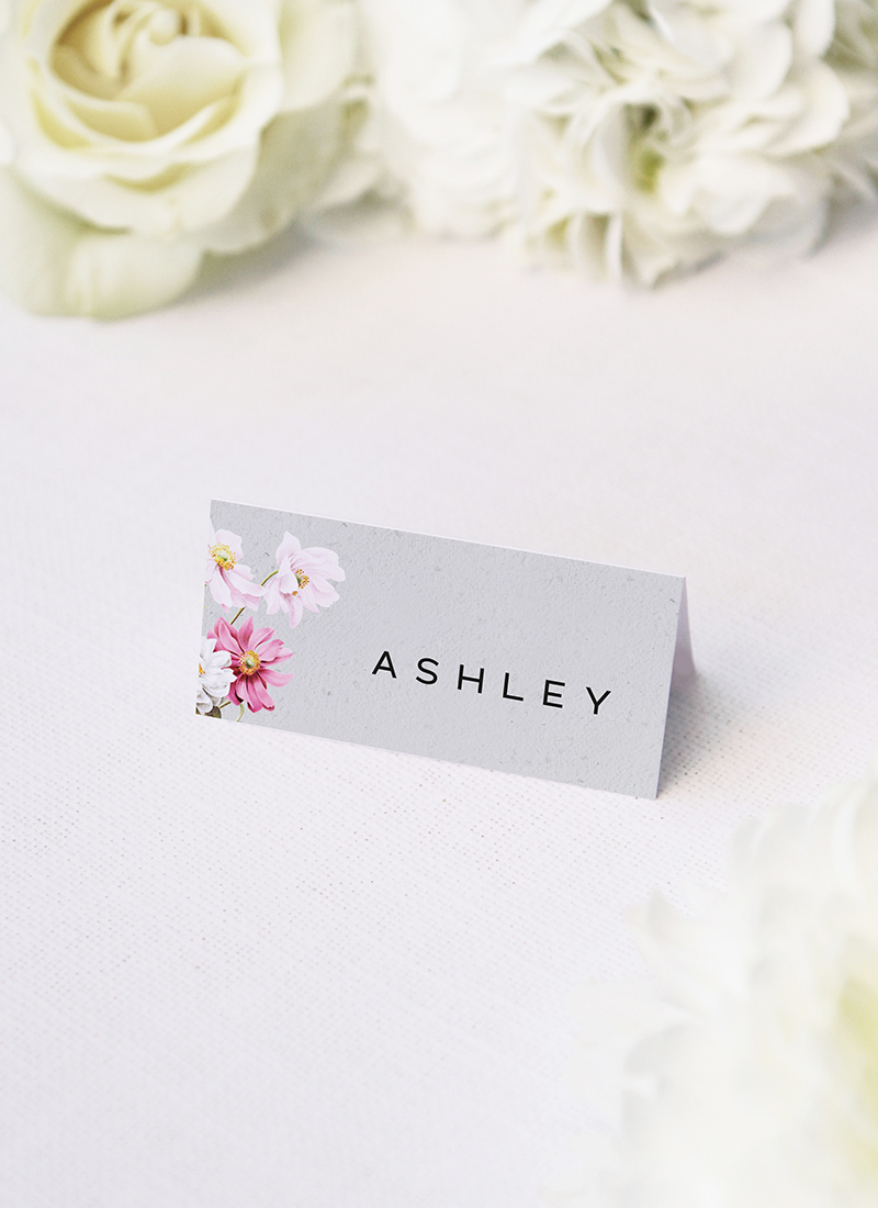 Elegant Grey Floral Name Place Cards Elegant Grey Floral Wedding Invitations