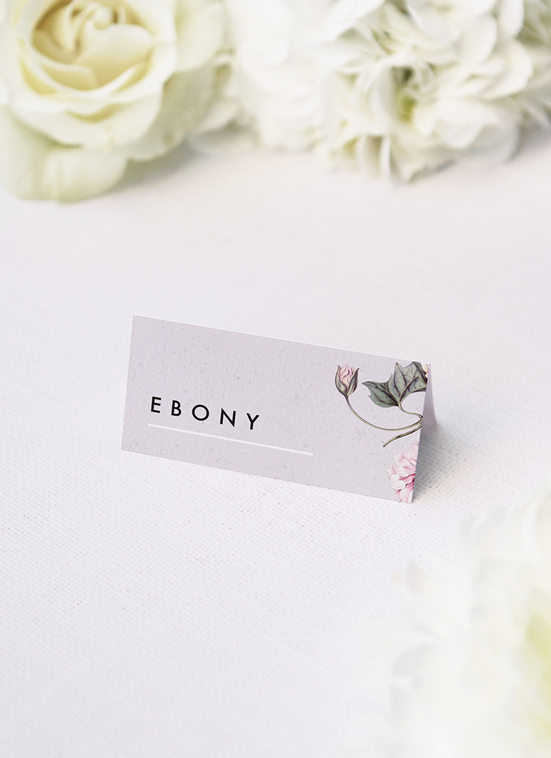 Modern Pink Grey Floral Name Place Cards Elegant Grey Floral Name Place Cards Modern Pink Grey Floral Wedding Invitations elegant pink flower floral vine leaf greenery