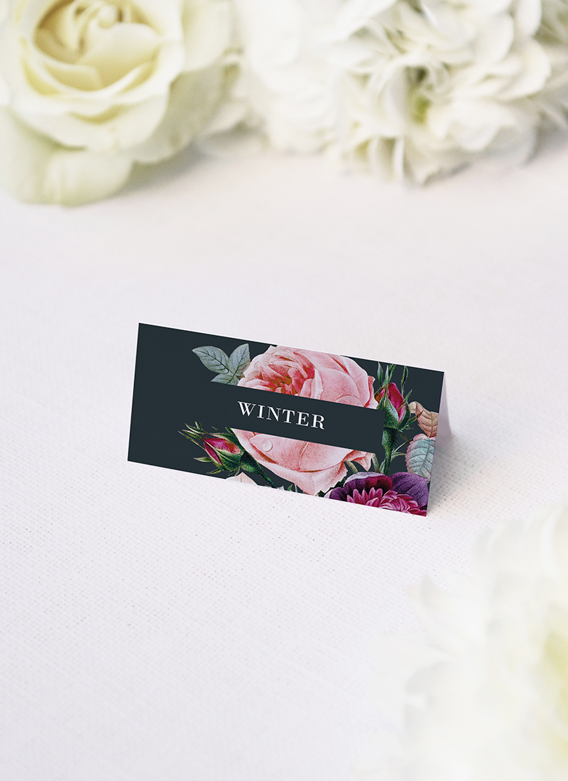 Dark Moody Floral Name Place Cards Dark Moody Floral Wedding Invitations