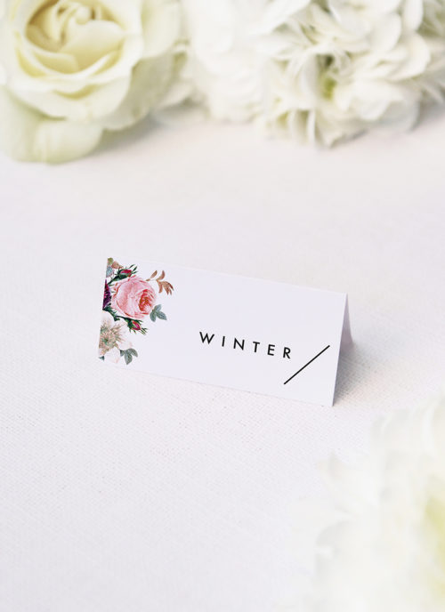 Modern Minimal Floral Rose Name Place Cards Modern Minimal Floral Rose Wedding Invitations