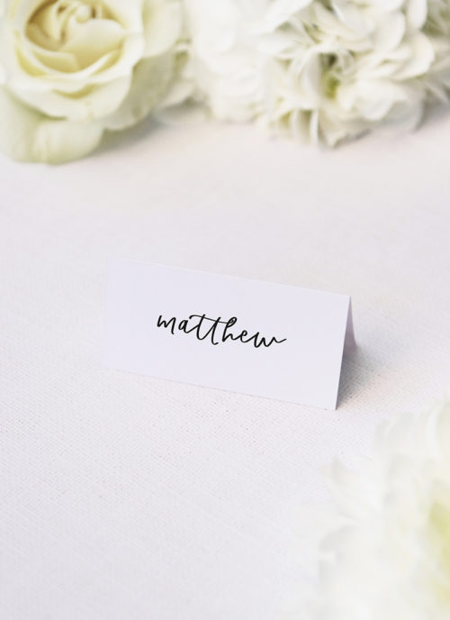 Modern Minimal Cursive Writing Name Place Cards Modern Minimal Cursive Writing Wedding Invitations