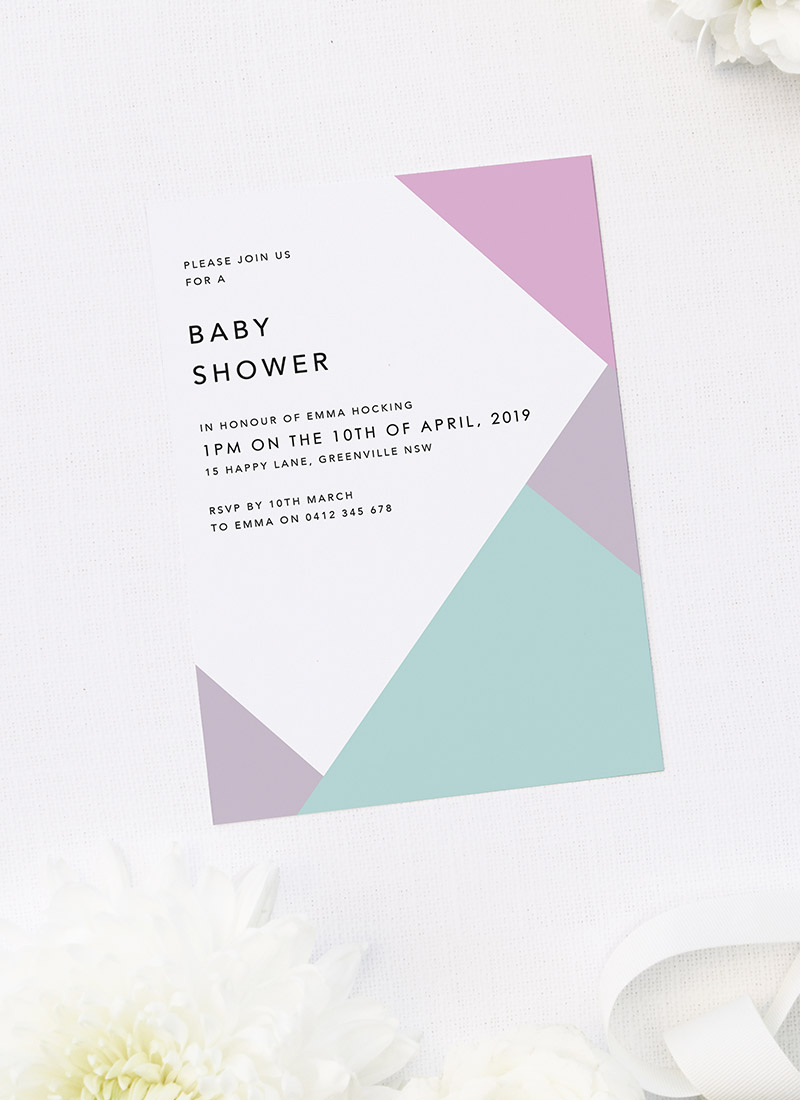 Geometric Pastels Girl Baby Shower Invitations