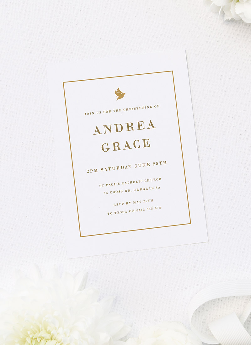 Elegant Gold Border Christening Invitations