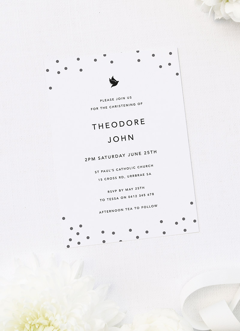 Black and White Polkadots Christening Invitations