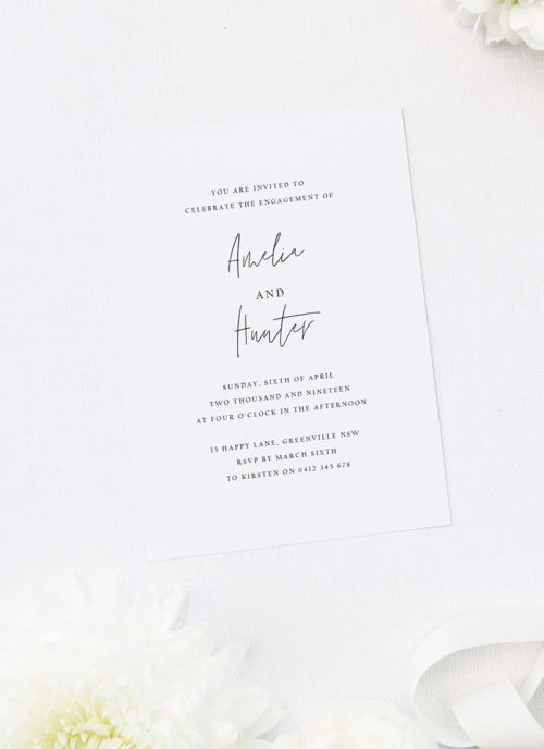 Minimal Modern Contemporary Hand Script Engagement Invitations