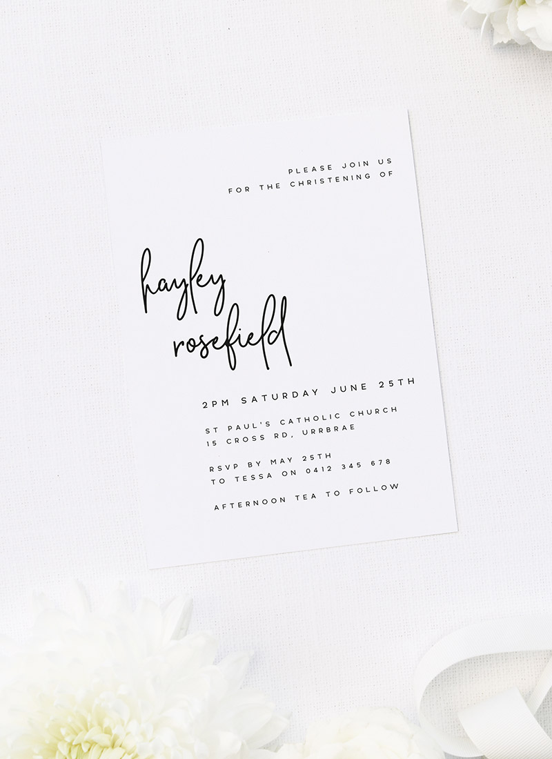Modern Hand Writing Script Christening Invitations