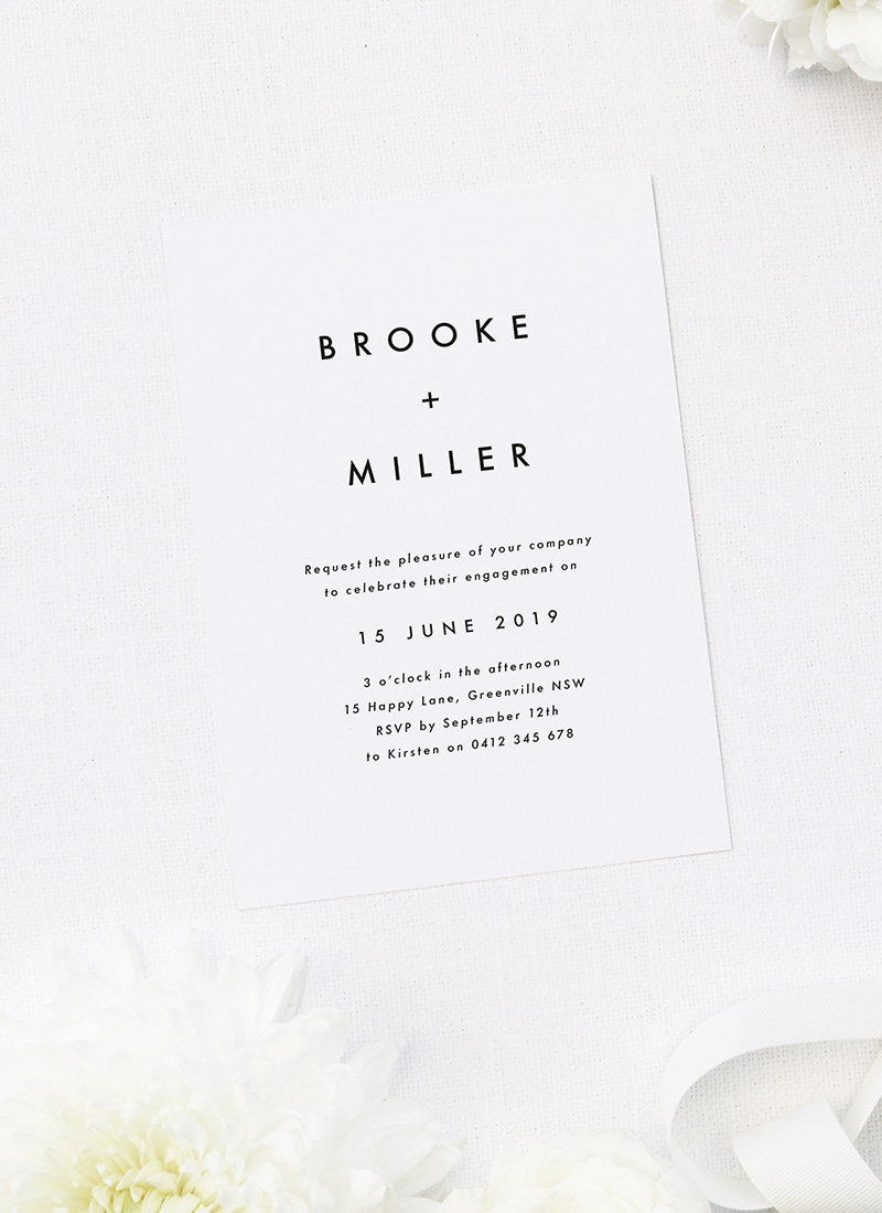 Large Bold Centre Names Modern Engagement Invitations